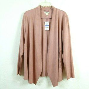 Style&co Waterfall Jacket XL PXL Pink Faux Suede